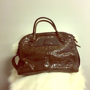 Kenneth Cole New York Leather Embossed Satchel.
